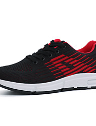 cheap -Women's Athletic Shoes Low Heel Round Toe Elastic Fabric / Tissage Volant Spring / Fall Black / Black / Red / Gray