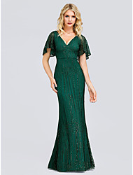 cheap -Mermaid / Trumpet V Neck Floor Length Lace / Sequined Sparkle / Green Wedding Guest / Formal Evening Dress with Beading / Sequin 2020
