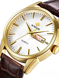 cheap -WWOOR Men's Dress Watch Japanese Japanese Quartz Genuine Leather Black / Brown 30 m Water Resistant / Waterproof Calendar / date / day New Design Analog Casual - Golden+Black Golden+White White