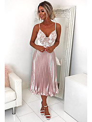cheap -Women's Basic Swing Skirts - Solid Colored Pleated Silver Blushing Pink M L XL