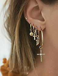 cheap -Women's Ear Piercing Drop Earrings Hoop Earrings Vintage Style Cross Moon Star Vintage Bohemian Ethnic Fashion Gold Plated Earrings Jewelry Gold For Carnival Prom Holiday Club Bar 5pcs