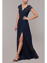 cheap -A-Line Beautiful Back Formal Evening Dress Plunging Neck Sleeveless Floor Length Chiffon Lace with Lace Insert Appliques Split Front 2021