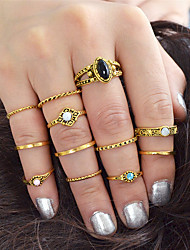 cheap -Women's Ring Set 12pcs Gold Silver Alloy Stylish Unique Design Fashion Gift Daily Jewelry Geometrical Elephant Sun Moon Cool