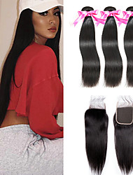 cheap -3 Bundles with Closure Indian Hair Straight Remy Human Hair Natural Color Hair Weaves / Hair Bulk Extension Hair Weft with Closure 8-20 inch Natural Color Human Hair Weaves Newborn Easy dressing Sexy