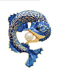 cheap -Men's Women's Brooches Fish Cute Imitation Pearl Brooch Jewelry Blue For Daily