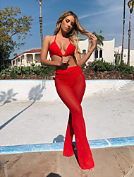 cheap -Women's Sexy / Beach Style Wide Leg Pants - Solid Colored Mesh Black Blushing Pink Red S M L