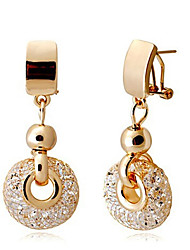 cheap -Luxury Rose Gold Drop Earrings Champagne Wire Zircon Crystal Female Fashion Jewelry 4.8cm* long and 2 cm wide