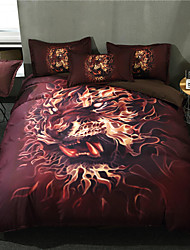 cheap -Duvet Cover Sets 3D / Animal / Cartoon Polyester / Polyamide Reactive Print 3 PieceBedding Sets