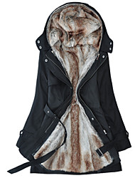 cheap -Women's Daily Long Jacket, Solid Colored Hooded Long Sleeve Polyester Green / Black / Beige