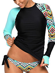 cheap -Women's Rashguard Swimsuit Swimwear UV Sun Protection Quick Dry Long Sleeve Swimming Diving Painting Autumn / Fall Spring Summer / Stretchy