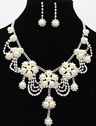 cheap -Women's Drop Earrings Pendant Necklace Bridal Jewelry Sets Classic Flower Stylish Unique Design Imitation Pearl Silver Plated Earrings Jewelry White For Wedding Party Holiday 1 set