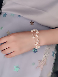 cheap -Women's Bead Bracelet Loom Bracelet Braided Precious Classic Fashion Cute Pearl Bracelet Jewelry White For Gift Daily Holiday Promise / Gold Plated