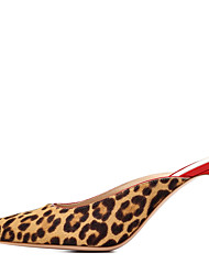 cheap -Women's Clogs & Mules Stiletto Heel Pointed Toe Horse Hair Sweet / British Fall / Spring & Summer Leopard / Party & Evening