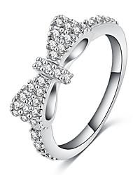 cheap -Women's Ring 1pc White Silver Rose Gold Silver Circular Basic Korean Fashion Festival Jewelry Bowknot Lovely