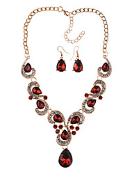 cheap -Women's Necklace Earrings Earrings Jewelry Black / Transparent / Red For Daily School Street Holiday Festival Two-piece Suit