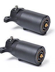 cheap -1 Pair Auto Round Trailer Connector 7 Poles RV Male and Female Light Plug 7 Way Connector