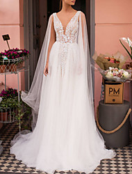 cheap -A-Line V Neck Sweep / Brush Train Lace / Tulle Regular Straps Made-To-Measure Wedding Dresses with Appliques 2020 / Yes