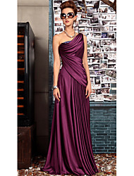 cheap -A-Line One Shoulder Floor Length Satin Open Back / Elegant Formal Evening Dress 2020 with Crystals / Ruched / Pleats