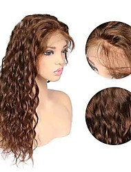 cheap -Remy Human Hair Full Lace Lace Front Wig style Brazilian Hair Curly Dark Brown Wig 130% 150% 180% Density Fashionable Design Party Women Hot Sale Comfortable Women's Medium Length Human Hair Lace Wig