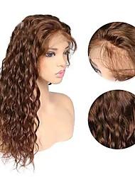 Недорогие -человеческие волосы Remy Полностью ленточные Лента спереди Парик стиль Бразильские волосы Кудрявый Темно-коричневый Парик 130% 150% 180% Плотность волос