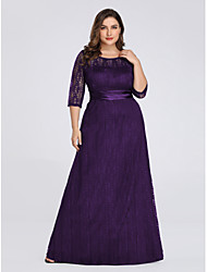 cheap -A-Line Plus Size Purple Wedding Guest Formal Evening Dress Illusion Neck 3/4 Length Sleeve Floor Length Spandex Lace Polyester with Sash / Ribbon Lace Insert Appliques 2020 / Illusion Sleeve