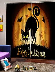 abordables -heureux halloween thème capucins chat fenêtre rideaux personnalité original épaississement blackout rideaux personnalisés pour la maison decro