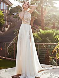 Недорогие -Жен. Макси С летящей юбкой Платье - Без рукавов Однотонный Хальтер Белый S M L XL