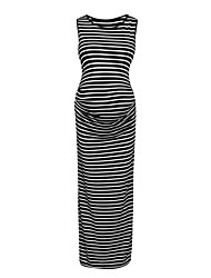 cheap -Women's Maternity Midi Bodycon Dress - Sleeveless Striped Ruched Basic White Black M L XL XXL