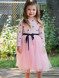 cheap -Toddler Girls' Sweet Cute Polka Dot Mesh Patchwork Long Sleeve Knee-length Dress Black