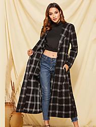 cheap -Women's Party Boho / Street chic Fall & Winter Long Trench Coat, Color Block Black & White Shirt Collar / Turndown Long Sleeve Rayon / Polyester Patchwork / Drawstring Black / Loose