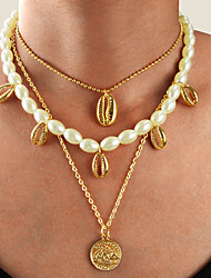 cheap -Women's Pendant Necklace Necklace Layered Necklace Layered Shell Vintage Trendy Ethnic Fashion Imitation Pearl Chrome Gold 50 cm Necklace Jewelry 1pc For Daily