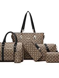 cheap -Women's Pattern / Print / Zipper Canvas / PU(Polyurethane) / PU Bag Set Geometric Pattern 6 Pieces Purse Set Black / Brown / Red / Fall & Winter