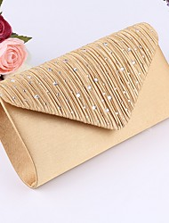cheap -Women's Crystals Polyester Clutch Solid Color Black / Almond / Gold