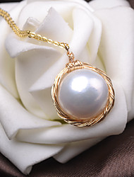 cheap -Women's Freshwater Pearl Pendant Necklace Twisted Baroque Pearl Gold Plated Gold 45 cm Necklace Jewelry 1pc For Gift Daily Holiday Promise Festival