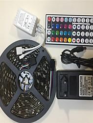 abordables -5m Bandes Lumineuses LED Flexibles / Ensemble de Luminaires / Barrette d'Eclairage RVB 150 LED SMD5050 1 44Keys Télécommande / Adaptateur 1 x 12V 3A RVB Créatif / Soirée / Décorative 100-240 V 1 set