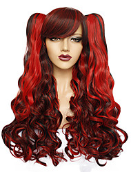 cheap -Synthetic Wig Water Wave Free Part Wig Long Purple Red Sky Blue Synthetic Hair 26inch Women's Odor Free Creative Smooth Red Blue Purple / Heat Resistant / Heat Resistant / Doll Wig