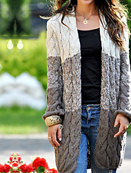 cheap -Women's Color Block Long Sleeve Cardigan Sweater Jumper, V Neck Cotton Light Brown / Purple / Beige S / M / L
