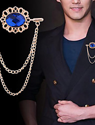 cheap -Men's Cubic Zirconia Brooches Link / Chain Bear Vertical / Gold bar Tassel Basic Trendy Rock Fashion Brooch Jewelry Black Blue For Wedding Party Daily Work