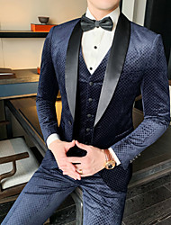 cheap -Tuxedos Standard Fit Shawl Collar Single Breasted One-button Polyester Plaid / Checkered