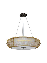 cheap -3-Light Country Bamboo Woven Pendant Light Dining Room Pendant Lighting Round Restaurant Suspension Lights E26*3