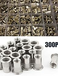 cheap -300pcs/set aluminum rivet nut rivnut nutsert kit 150pcs metric + 150pcs sae m3-m8 c#(box packing)
