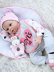 cheap -NPK DOLL 22 inch Reborn Doll Girl Doll Baby Girl Reborn Baby Doll lifelike Cute Hand Made Child Safe Non Toxic Cloth 3/4 Silicone Limbs and Cotton Filled Body 55cm with Clothes and Accessories for