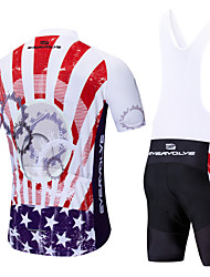 cheap -EVERVOLVE American / USA National Flag Men's Short Sleeve Cycling Jersey with Bib Shorts - Black White Bike Clothing Suit Breathable Moisture Wicking Quick Dry Sports Polyster Lycra Mountain Bike MTB