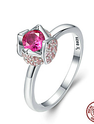 cheap -Women's Adjustable Ring AAA Cubic Zirconia 1pc Silver S925 Sterling Silver Unique Design European Trendy Gift Daily Jewelry Floral Theme Cute