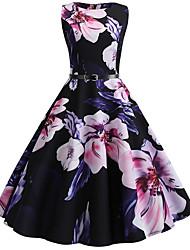 cheap -Women's A Line Dress - Floral Black S M L XL