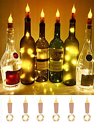 abordables -Loende Flamme Lumières En Liège En Forme De 6 Pack Firefly Artisanat Bouteille Lumières À Piles Bougies pour bouteilles De Vin