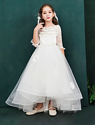 cheap -Princess Ankle Length Flower Girl Dress - Lace / Organza / Taffeta Half Sleeve Boat Neck with Lace by LAN TING Express