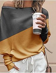 Недорогие -Жен. Контрастных цветов Длинный рукав Пуловер, На одно плечо Белый / Желтый / Синий S / M / L