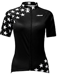 cheap -21Grams Women's Short Sleeve Cycling Jersey Black / White Star Bike Jersey Top Mountain Bike MTB Breathable Quick Dry Moisture Wicking Sports Clothing Apparel / Micro-elastic / Race Fit