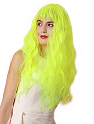 cheap -Synthetic Wig Bangs Curly Water Wave Neat Bang With Bangs Wig Blonde Very Long fluorescent green Synthetic Hair 26 inch Women's Cosplay Party Women Blonde Green HAIR CUBE